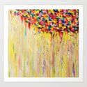 OPPOSITES LOVE Raining Sunshine - Bold Bright Sunny Colorful Rain Storm Abstract Acrylic Painting Art Print