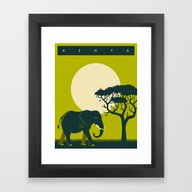 Framed Art Print featuring Kenya Travel Poster by Jazzberry Blue