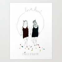 Love hurts... We prefer to step on Lego pieces Art Print