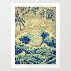 The Great Blue Embrace at Yama Art Print