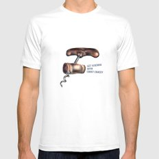 Corky Comedy  SMALL White Mens Fitted Tee