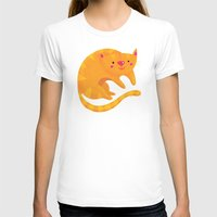 Orange Cat Womens Fitted Tee White SMALL