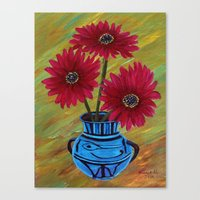 Blue vase with flowers/ still life  Canvas Print