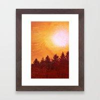 Painted Evergreens Framed Art Print
