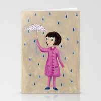 Girl In Rain Stationery Cards