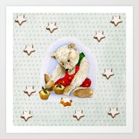 violet_Hearts_xmas_Teddy_1 Art Print