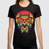 Owl 3 Womens Fitted Tee Tri-Black SMALL