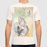 Green Bough, Singing Bird Mens Fitted Tee Natural SMALL