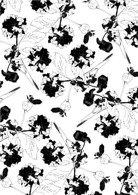 Hydranga pattern  - black and white Art Print