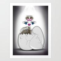 newborn ostrich Art Print