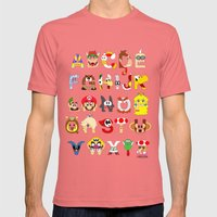 Super Mario Alphabet Mens Fitted Tee Pomegranate SMALL