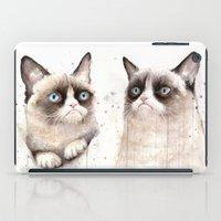 Grumpy Watercolor Cats iPad Case