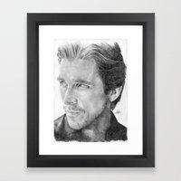Christian Bale Traditional Portrait Print Framed Art Print