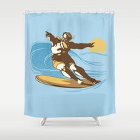 God Surfed Shower Curtain