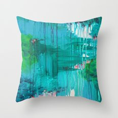 BLUE MONSOON - Stunning Rain Storm Dark Teal Clouds Navy Royal Blue Kelly Green Crimson Red Purple Throw Pillow