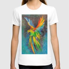 Parrot in flight Womens Fitted Tee White SMALL