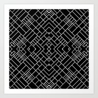 PS Grid 45 Black Art Print
