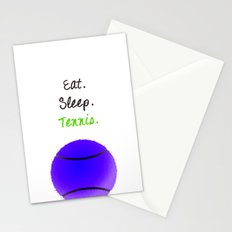 Eat. Sleep. Tennis.  (Black with Pink) Stationery Cards