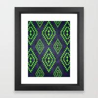 Navy & Lime Tribal Inspi… Framed Art Print