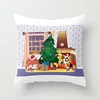 Merry Christmas Cat And … Throw Pillow