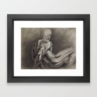 Nude Male Figure Study, Black and White.  Framed Art Print