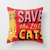 Save the LOL Cats Throw Pillow