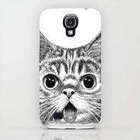 Galaxy S4 Cases featuring Tongue Out Cat by Tummeow