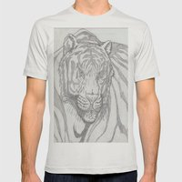 large tiger Mens Fitted Tee Silver SMALL