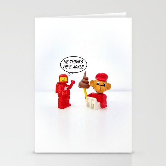 """space lego meeting the """"arale wannabe"""" monkey Stationery Card"""