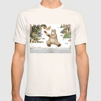 Mr.Brown is playing with the squirrel Mens Fitted Tee Natural SMALL