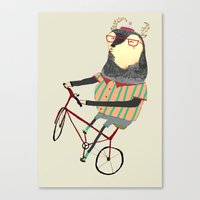 Deer On Bike.  Canvas Print