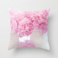 Romantic Shabby Chic Pink Peonies  Throw Pillow