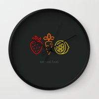 Eat Real Food. (dark) Wall Clock
