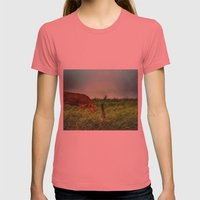 who says mooo Womens Fitted Tee Pomegranate SMALL
