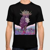 Journeying Spirit (Owl) Mens Fitted Tee Black SMALL