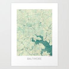 Baltimore Map Blue Vinta… Art Print