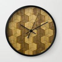 Wooden Zig Zag Optical Cubes Wall Clock
