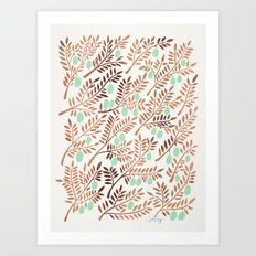 Olive Branches – Rose Gold & Mint Art Print