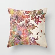 Throw Pillow featuring Boston by MapMapMaps.Watercolo…
