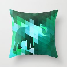 Emerald Elephant Throw Pillow