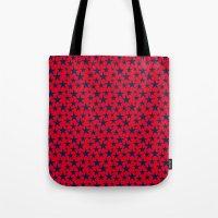 Blue stars on bold red background illustration. Tote Bag