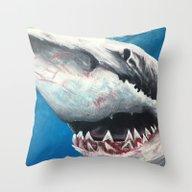 Throw Pillow featuring Shark by Kristin Frenzel