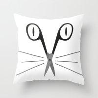 Scissors Cat Throw Pillow