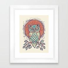 Owl on branch Framed Art Print