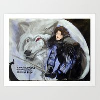 Jon Snow And Ghost Art Print