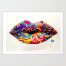 Rainbow lips Art Print