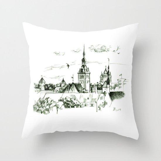 Medieval landscape. Throw Pillow