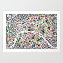 A map of Paris Art Print