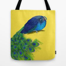 The Beauty That Sleeps - Vertical Peacock Painting Tote Bag