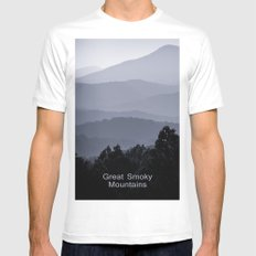 Misty morning at the Smoky's White Mens Fitted Tee SMALL